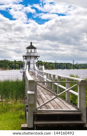 Doubling Point lighthouse on the Kennebec River, Maine, coastal New England - stock photo