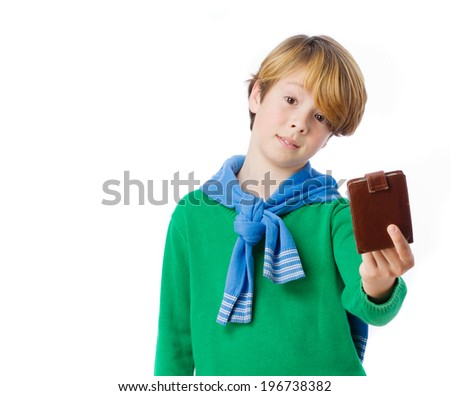 Doubtful child holding a leather wallet - stock photo