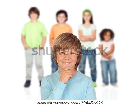 Doubtfully teenager boy with other children of bakcgrund unfocused