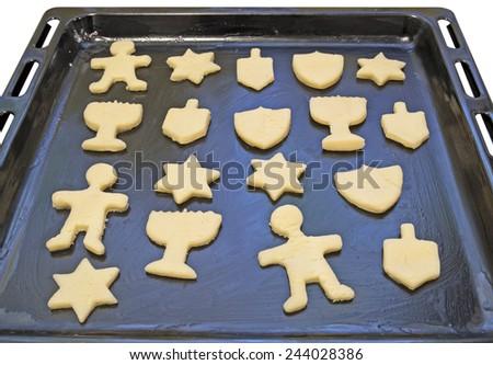 Dough preform. Hanukkah cookies - stock photo