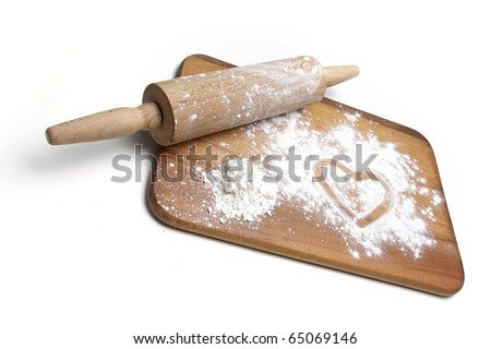 dough roller, board and flour over white - stock photo