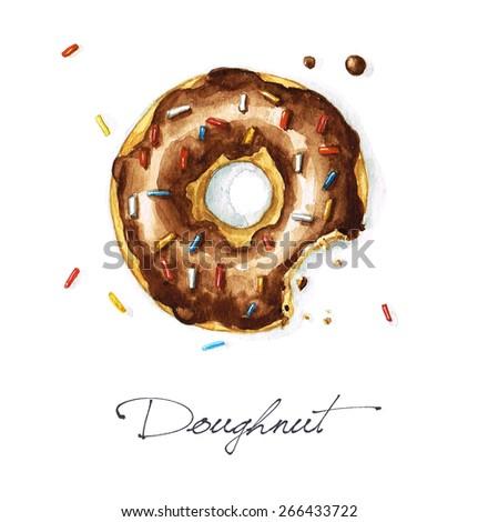 Doughnut - Watercolor Food Collection - stock photo