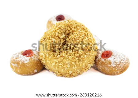 Doughnut with Stawberry, Bavarian, blueberry and Doughnut nut isolated on white background. - stock photo
