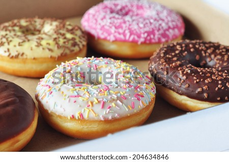 Doughnuts in a box - stock photo