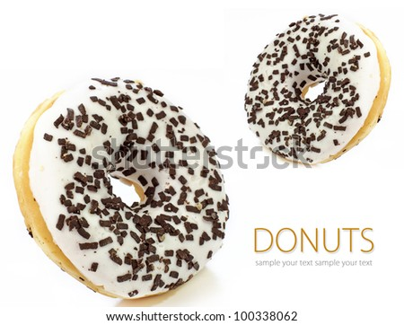 Doughnuts isolated on white background.