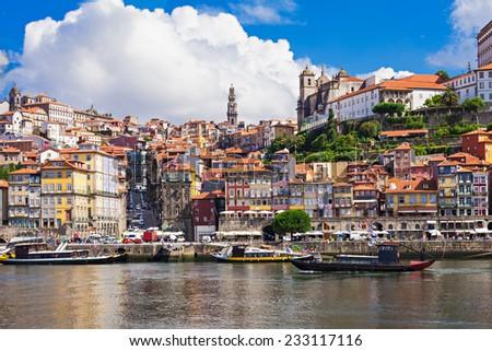 Douro river and traditional boats in Porto, Portugal - stock photo