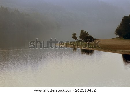 Douro river in a misty evening, north of Portugal - stock photo