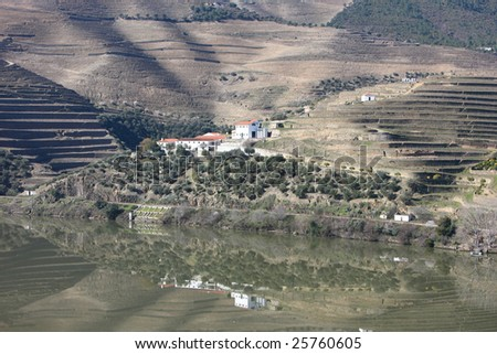 Douro river landscape, with vineyards - stock photo