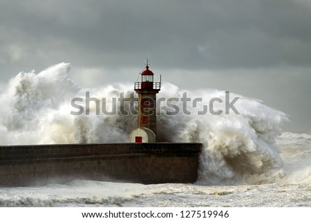Douro River Mouth on the first big storm of the year; Wind gusts reach 140 Km; photo taken on Jan. 19, 2013. - stock photo