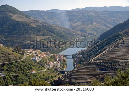 Douro Valley - main Vineyard region in Portugal. Town Pinhao. Portugal's port wine vineyards. Point of interest in Portugal. - stock photo