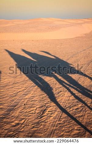 Douze,tunisia,camel and people in the sahara's desert - stock photo