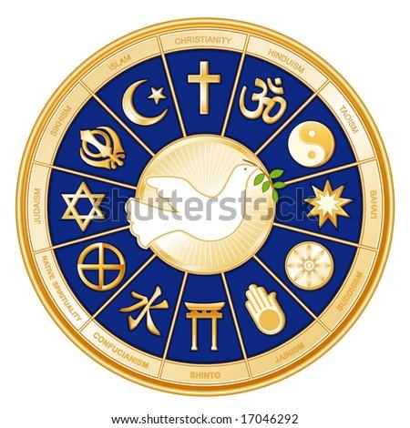 Dove of Peace, World Religions, gold wheel, blue background. Christianity, Hindu, Taoism, Baha'i, Buddhism, Jain, Shinto, Confucianism, Native Spirituality, Judaism, Sikh, Islam. - stock photo