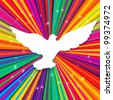 Dove silhouette on psychedelic colored abstract background, rasterized version. - stock photo