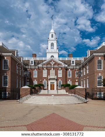 DOVER, DELAWARE - JULY 20: Delaware Legislative Hall on July 20, 2015 in Dover, Delaware - stock photo
