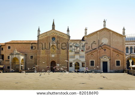 Doves in front of the Basilica of Saint Anthony of Padua - stock photo