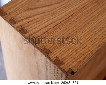 Dovetail Joint on a Wooded Dresser Drawer - stock photo