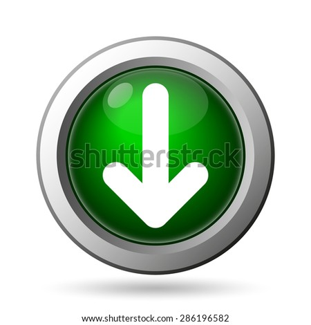 Down arrow icon. Internet button on white background  - stock photo