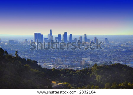 down town los angeles at sunrise - stock photo
