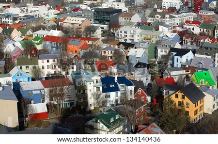 Down town Reykjavik, a view from Hallgrimskirkja - stock photo