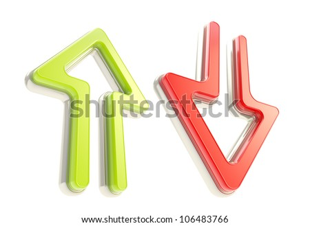 Down up arrow icons, red and green glossy plastic with metal, isolated on white - stock photo