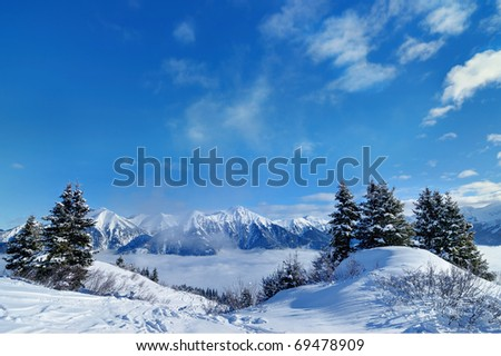 downhill ski slope at sunny winter day