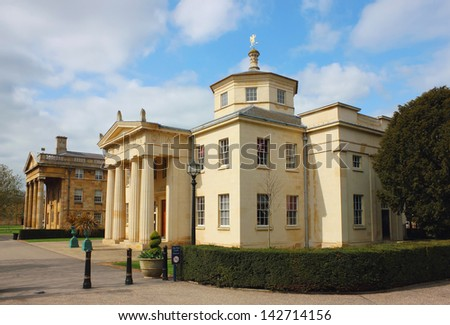 Downing College Facade at Regent Street in Cambridge, United Kingdom. - stock photo