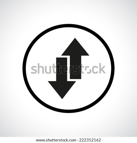 Download and upload symbol in a circle. Send and receive emails. Black flat icon. - stock photo