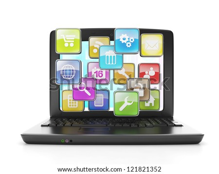 download applications from the Internet. A laptop and a group of icons out of the display