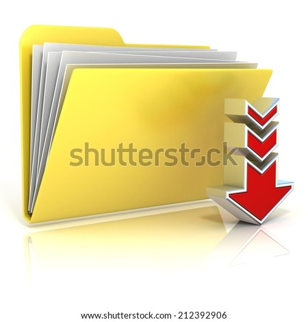 Download folder icon, isolated on white background - stock photo
