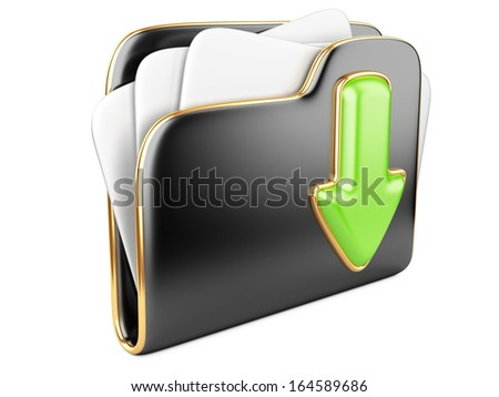 Download folder icon. Transferring information concepts. 3d illustration over white. - stock photo