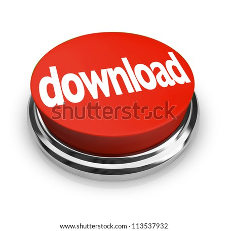 Download red button order and downloading the software or other online merchandise you want to buy or put onto your computer - stock photo