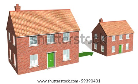 Downsizing, moving down, realizing assets 1 - stock photo