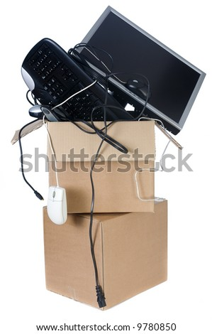 Downsizing to a smaller office? Not enough room. - stock photo
