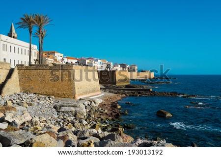 Downtown Alghero, Sardinia, Italy - stock photo