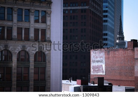 downtown architecture, overlapping, creating depth through its geometry. Taken in Pittsburgh, PA. - stock photo