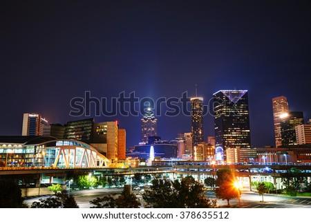 Downtown Atlanta, Georgia at the night time - stock photo