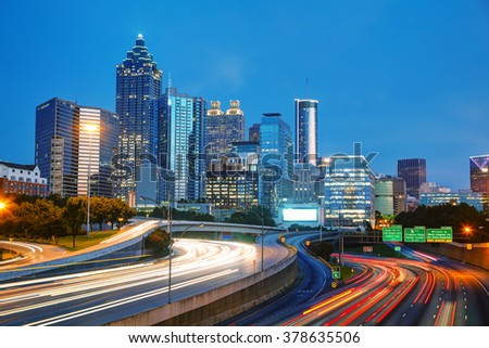 Downtown Atlanta, Georgia at the sunset time - stock photo