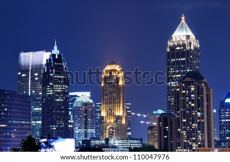 downtown atlanta, georgia buildings - stock photo
