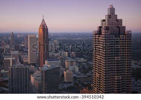 Downtown Atlanta, Georgia in sunset.