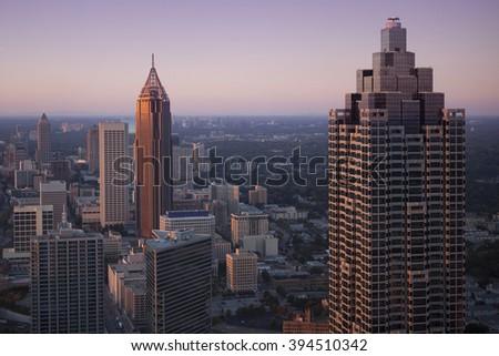 Downtown Atlanta, Georgia in sunset. - stock photo