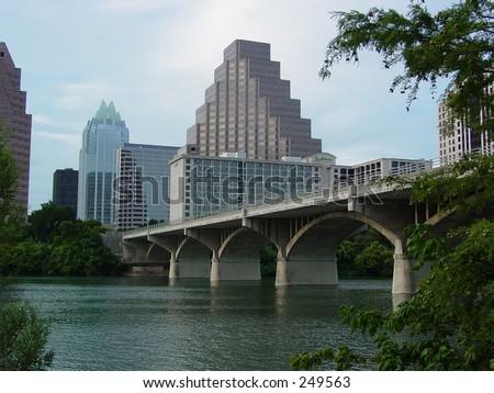 Downtown Austin and the Bat Bridge - stock photo