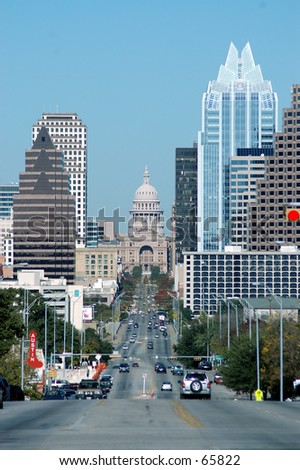 Downtown Austin Texas as seen from South Congress - stock photo
