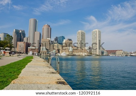 Downtown Boston and Reflection in Water - stock photo