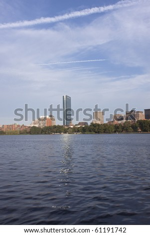 Downtown Boston from Charles River - stock photo