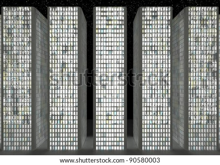 Downtown buildings at night: Abstract skyscrapers and starry ske - stock photo