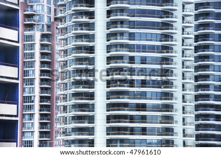 downtown buildings zoom - stock photo
