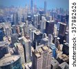 Downtown Chicago aerial view - modern American city. - stock photo