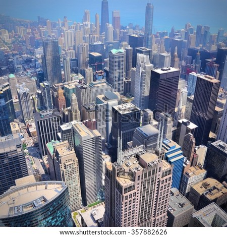 Downtown Chicago aerial view - modern American city.