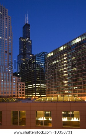 Downtown Chicago after sunset