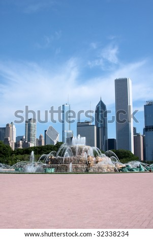 Downtown Chicago and Buckingham Fountain - stock photo